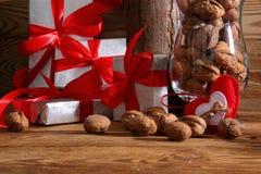 Composition en Noël parfaitement adaptée pour envoyer un ami et pour les rendre heureux Image libre de droits
