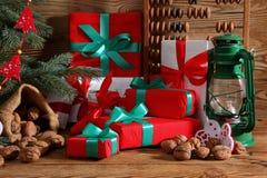 Composition en Noël parfaitement adaptée pour envoyer un ami et pour les rendre heureux Photo stock
