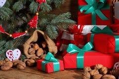 Composition en Noël parfaitement adaptée pour envoyer un ami et pour les rendre heureux Images stock