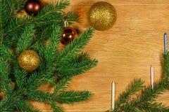 Composition 2017 en nouvelle année avec des branches de sapin Image stock