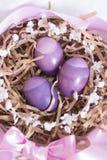 Composition en oeufs de pâques avec le ruban et les fleurs image libre de droits
