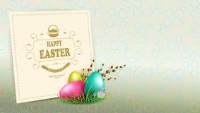 Composition en Pâques avec une silhouette des oeufs, une branche de saule avec des bourgeons et un cadre lumineux carré, illustration libre de droits