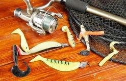 Composition en pêche avec de diverses amorces et la rotation de silicone Photos libres de droits