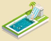 Composition en piscine de parc aquatique illustration stock