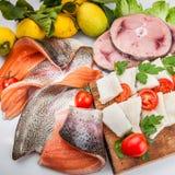 Composition en poissons de cousine de nourriture, ingrédient pour la consommation Photographie stock