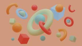 Composition en primitifs Le vol abstrait forme dans le mouvement avec la grille d'isolement sur le fond pourpre rendu 3d illustration libre de droits