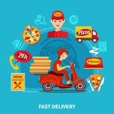 Composition en service de distribution de pizza Photographie stock