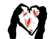 Composition en silhouette avec les papillons contrastants illustration de vecteur