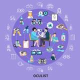 Composition en symboles de cercle d'oculiste illustration stock