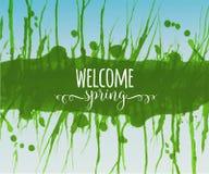 Composition en typographie avec les mots bienvenus de ressort, l'éclaboussure verte et le ciel bleu Image libre de droits