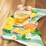 Composition en vecteur de thé de gingembre sur le fond en bois Photos libres de droits