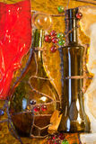 Composition en verre souillé de thème de vin Images libres de droits