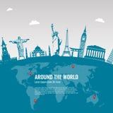 Composition en voyage avec les icônes célèbres de points de repère du monde Vecteur Image stock