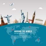Composition en voyage avec les icônes célèbres de points de repère du monde Vecteur Images libres de droits