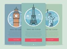 Composition en voyage avec les points de repère célèbres Londres, Paris, New York du monde Voyage et tourisme Calibre de site Web Photo stock