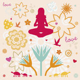 Composition of esoteric flower symbols for yoga Royalty Free Stock Photography