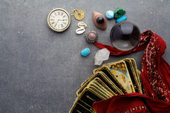 Composition of esoteric objects, used for healing and fortune-telling. On dark background Stock Image