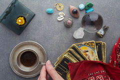 Composition of esoteric objects, used for healing and fortune-telling stock photos