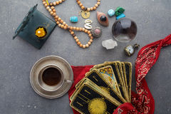 Composition of esoteric objects, used for healing and fortune-telling royalty free stock photography