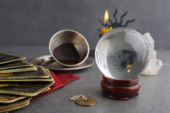 Composition of esoteric objects, used for healing and fortune-telling royalty free stock image