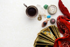 Composition of esoteric objects, used for healing and fortune-telling stock image