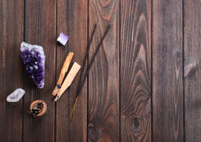 Composition of esoteric objects used for healing, meditation, relaxation and purifying. Royalty Free Stock Photos