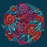 Composition ethnique florale décorative abstraite en griffonnages illustration stock