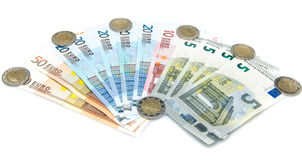 Composition of euro banknotes and coins Royalty Free Stock Images