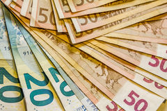 A composition of euro banknotes Stock Photography