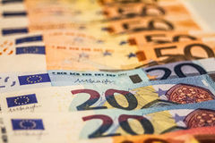 A composition of euro banknotes royalty free stock image