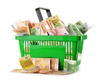 Composition with Euro banknotes in shopping basket Royalty Free Stock Photos