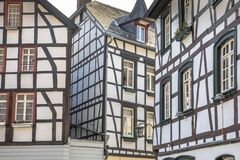 Composition of Facades of Fachwerk building style. Composition of Facades of Fachwerk medievel building style in Monschau, Eifel Germany royalty free stock photography