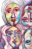 Composition with faces painted in watercolor Stock Image