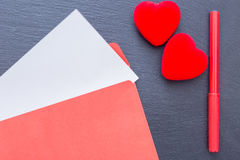 Composition of felt pen hearts and envelope Royalty Free Stock Images