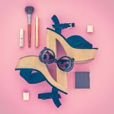 Composition of female accessories and shoes Royalty Free Stock Photography