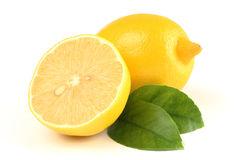 Composition of a few lemons with leaves Royalty Free Stock Photos
