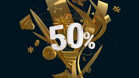 Golden fifty percents. Composition with fifty percents sign and golden shapes abstraction, high resolution 3D render Stock Photo