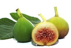 Composition of fig and fig leaf Royalty Free Stock Photos