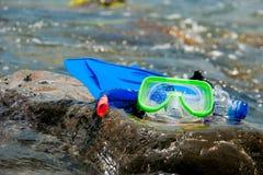 Composition, fins, mask, snorkel Stock Image