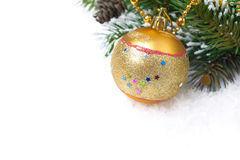 Composition with fir branches, pine cones and Christmas ball Royalty Free Stock Photos
