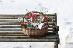 Composition of fir branches, rowan and leaves. Composition of fir branches, rowan and leaves in wicker basket on a background of snow and the old bench Royalty Free Stock Images