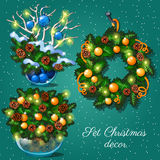 Composition from fir branches and toys. Christmas decoration, composition from fir branches and toys Stock Image