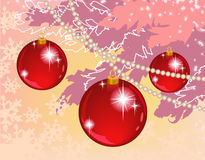 Composition with fir tree and red balls Royalty Free Stock Image