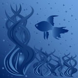 Composition of fish floating around aquatic plants. Phantasmagoric hand drawing vector illustration in blue tints Royalty Free Stock Photos