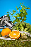 Composition of fitness, fitness stuff Royalty Free Stock Photo