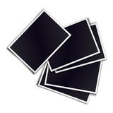 Composition of five blank realistic black photo frames on white Stock Images