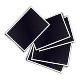 Composition of five blank realistic black photo frames on white. Background. Mockups for design. Vector illustration Stock Images