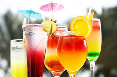 Composition with five glasses of drinks Royalty Free Stock Photo