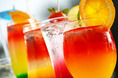 Composition with five glasses of drinks Royalty Free Stock Photography