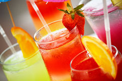 Composition with five glasses of drinks Stock Image